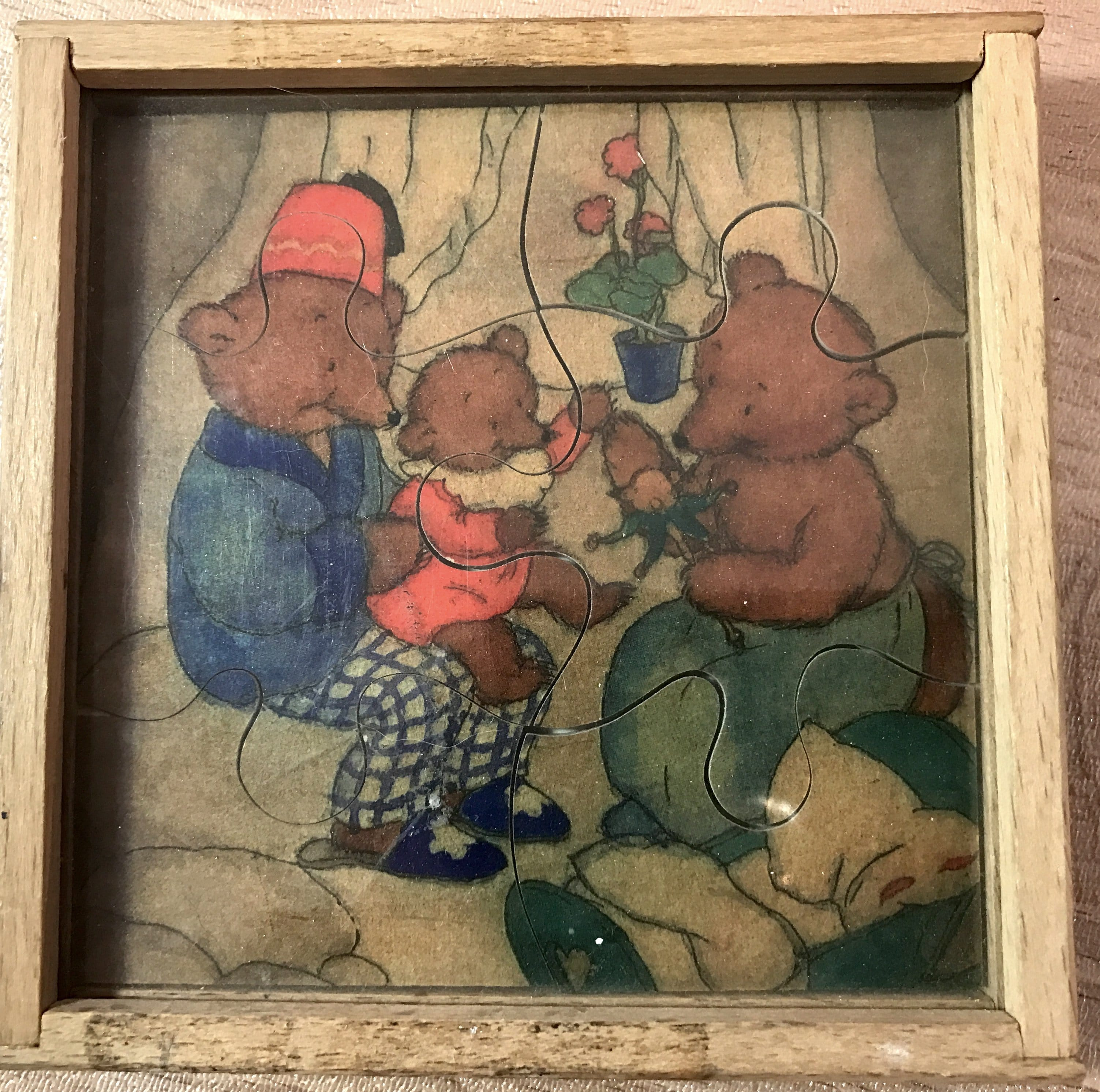 Set of 4 vintage hand painted wood small puzzles - made in Italy - by Sevi