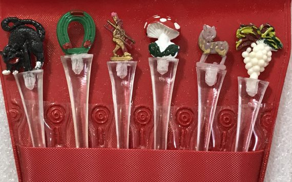 Vintage hand painted early plastic little figurines cocktail party forks - 3 sets